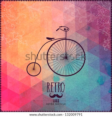 Retro bicycle on hipster background made of triangles with grunge paper. Retro background with floral ornament and geometric shapes.