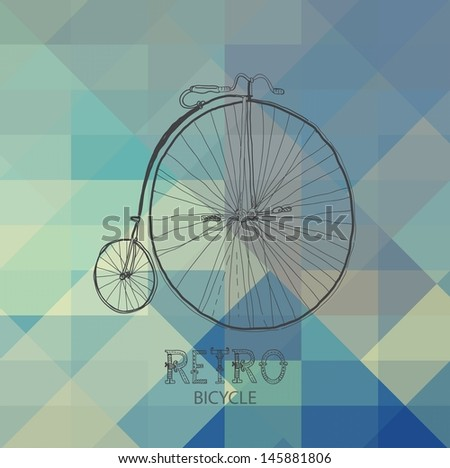 Retro bicycle over geometric background , VECTOR