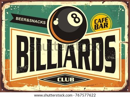retro billiards sign design