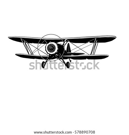 retro biplane in monochrome