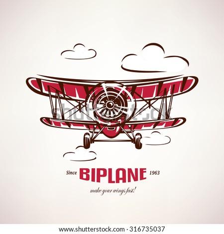 retro biplane  vintage airplane