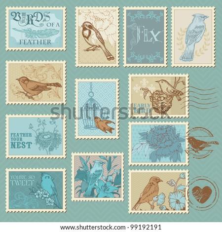 Retro Bird Postage Stamps - for design, invitation, congratulation, scrapbook