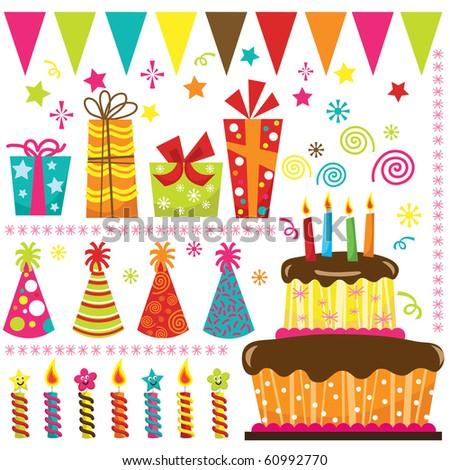Retro Birthday Celebration Elements - stock vector