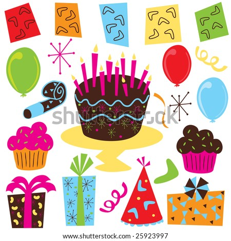 vector cartoon illustration of a birthday cake and candles