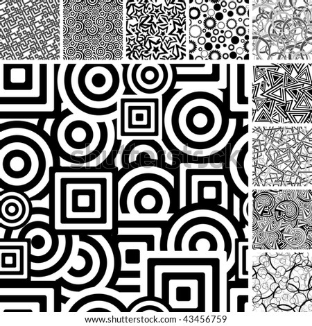 Retro black and white seamless backgrounds