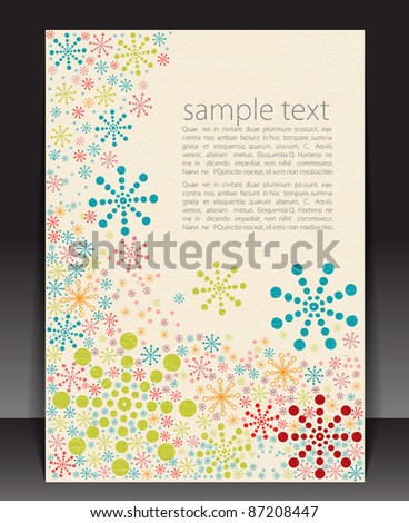Retro blank with winter pattern, vector illustration