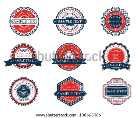 Retro blue and red labels set for sticker, tag, emblem or banner design. Jpeg version also available in gallery