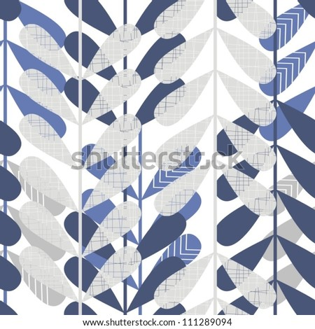 retro blue leaves seamless pattern on white background
