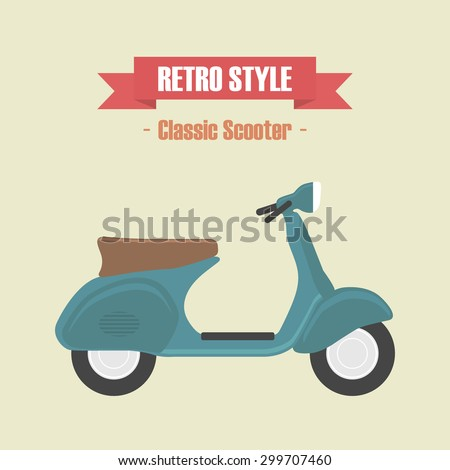 retro blue scooter  vintage