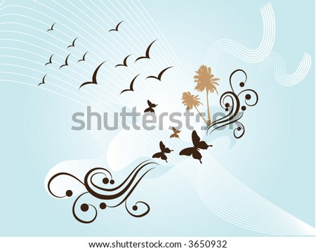 wallpaper retro blue. stock vector : retro blue wallpaper with butterfly andpalm tree