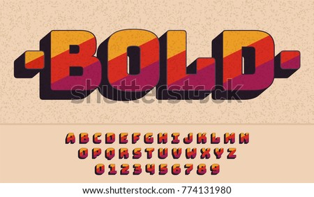 Retro bold font 90's, 80's with colorful stripes. Vector abc alphabet