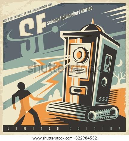 retro bookstore poster design