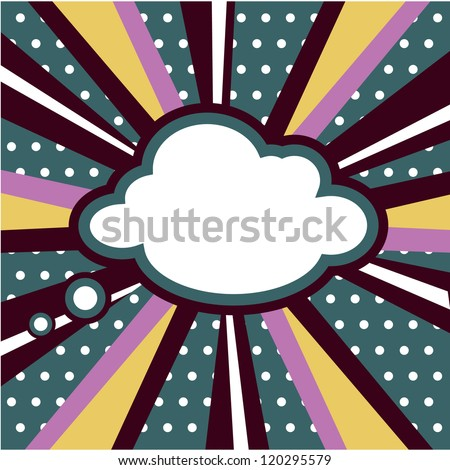 retro Boom, Pop art inspired illustration of a explosion cloud comic book style background