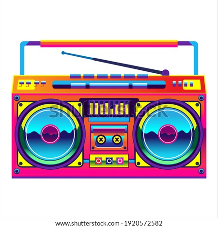 Retro boombox trendy style. Colorful illustration on white background Сток-фото ©