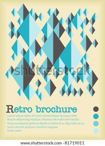 Retro brochure made from grey and blue shapes