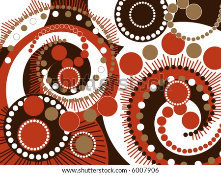 retro brown spiral dots pattern (vector)