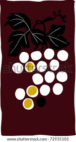Retro Bunch of Wine Grapes Background Vector Illustration