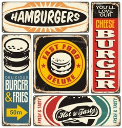 Retro burger signs collection on old damaged background. Fast food vintage vector illustration.