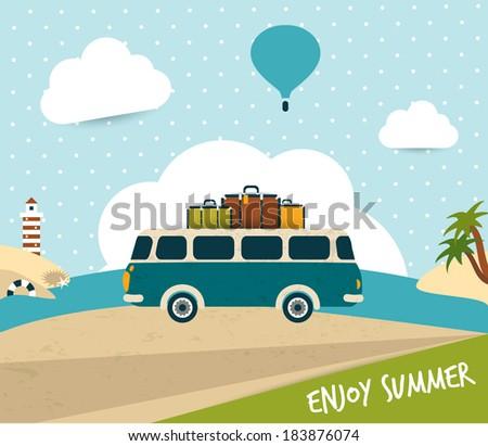 retro bus summer trip concept