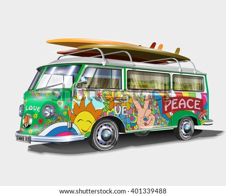 stock vector retro bus with surf boards 401339488 - Каталог — Фотообои «Ретро»