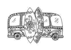 Retro bus with surf boards in zentangle style. Hand drawn illustration.