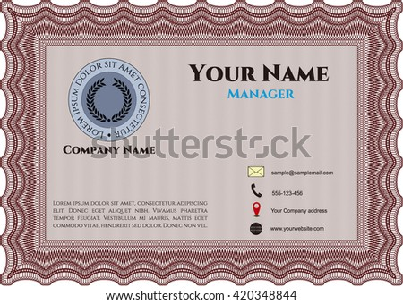 Retro Business Card. Customizable, Easy to edit and change colors. With complex background. Excellent design.