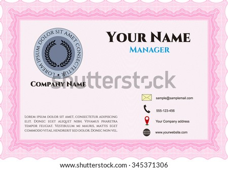 Retro Business Card. With background. Elegant design. Border, frame.