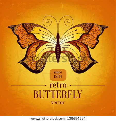 Retro butterfly vector banner design.Vintage butterfly ornament. Can be used for book cover, banner, decoration, textile and other cases. #138684884