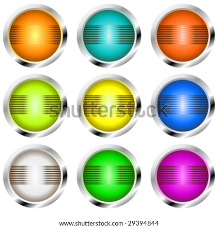 Retro buttons or globes with bands of light
