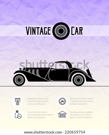 Retro cabriolet sport vintage car with shadow isolated on color grunge paper texture, classic garage sign vector illustration background, can be used for design, infographic