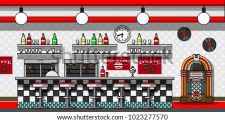 Retro cafe interior flat line vector illustration. Stock photo ©