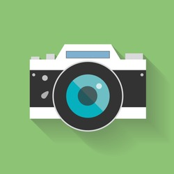 Retro Camera flat icon vector illustration for web design and mobile app isolated on green background. Vector illustration EPS10