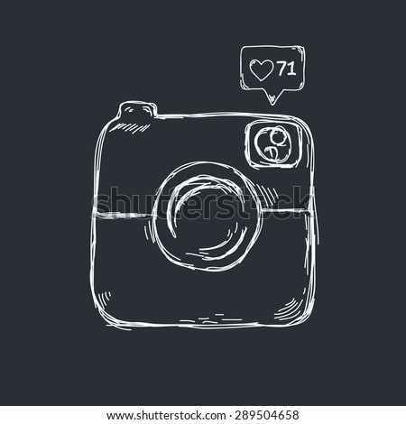 Retro camera icon design in sketch style