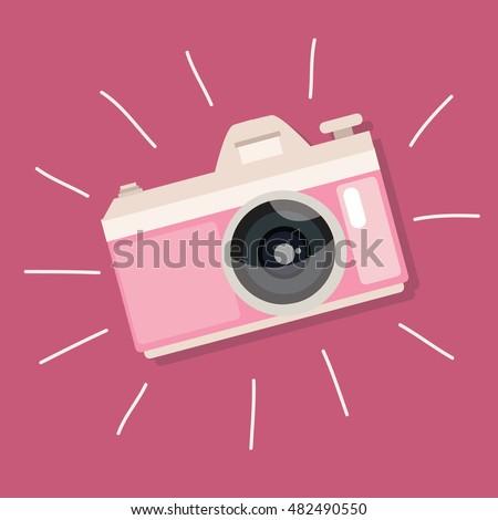 retro camera pink vintage icon