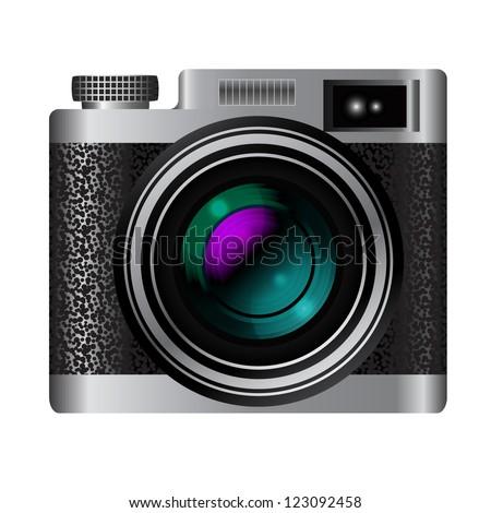 Retro camera vector icon