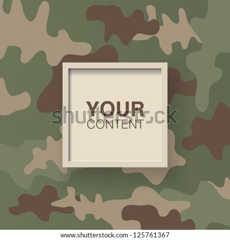 retro camo pattern text box frames vector design background