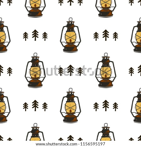 Stock Photo Retro camp seamless pattern with Lanterns and trees. Vintage hand drawn concept. Old style colors. Stock vector wallpaper, background isolated on white.