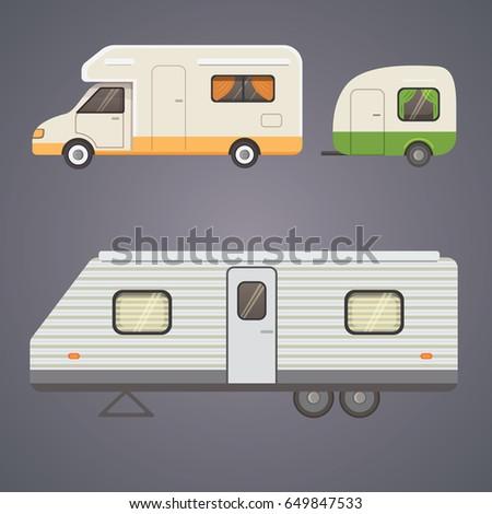 Retro camper trailer collection. car trailers caravan. tourism.