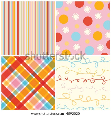 retro candy red pink pattern combo (vector) - illustrated pattern