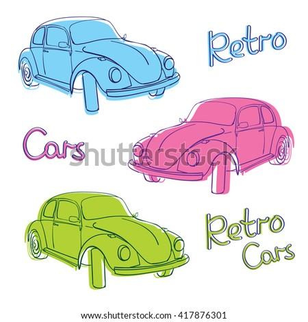retro car cute illustration