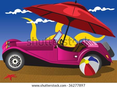 retro car on a beach.