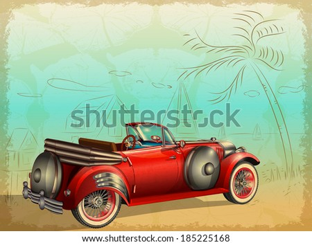 retro car on summer background