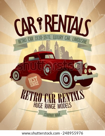 retro car rentals design with