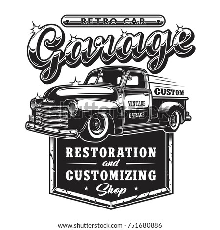 retro car repair garage sign...