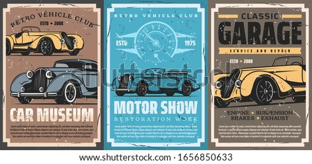 Retro car repair service, old auto spare parts and vintage vehicle mechanic garage station. Vector cabriolet and sedan cars, speedometer posters of racing sport and maintenance, auto club, motorshow
