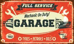 Retro car service sign. Vector illustration.