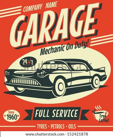 retro car service sign vector