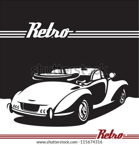Retro car. Vintage Cabriolet.