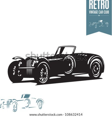 Retro car. Vintage car. Sport car. - stock vector
