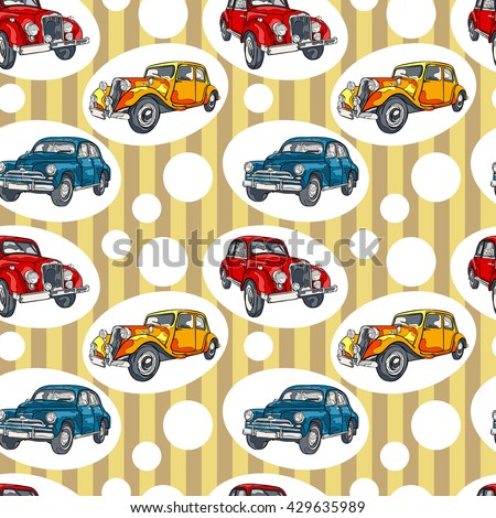 Retro car. Vintage. Striped pattern. Seamless vector pattern (background).